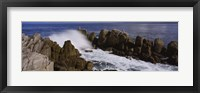 Framed Rock formations in water, Pebble Beach, California, USA