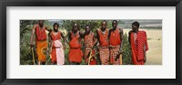 Framed Group of Maasai people standing side by side, Maasai Mara National Reserve, Kenya