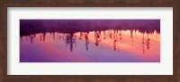 Framed Reflection of plants in a lake at sunrise, Taggart Lake, Grand Teton National Park, Wyoming, USA
