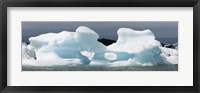 Framed Icebergs and volcanic ash, Jokulsarlon Lagoon, Iceland