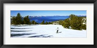 Framed Tourist skiing in a ski resort, Heavenly Mountain Resort, Lake Tahoe, California-Nevada Border, USA