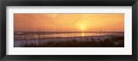 Framed Sea at dusk, Gulf of Mexico, Tigertail Beach, Marco Island, Florida, USA