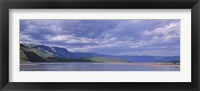 Framed Kenya, Lake Bogoria, Panoramic view of hills around a lake