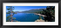 Framed Trees with lake in the background, Lake Tahoe, California, USA
