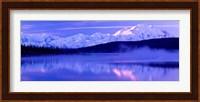 Framed Reflection of snow covered mountains on water, Mt McKinley, Wonder Lake, Denali National Park, Alaska, USA