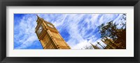 Framed Low angle view of a clock tower, Big Ben, Houses of Parliament, City of Westminster, London, England