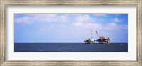 Framed Natural gas drilling platform in Mobile Bay, Alabama, USA