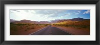 Framed Road passing through mountains, Calico Basin, Red Rock Canyon National Conservation Area, Las Vegas, Nevada, USA