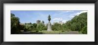 Framed Statue in a garden, Boston Public Gardens, Boston, Massachusetts, USA