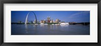 Framed Gateway Arch and city skyline viewed from the Mississippi River, St. Louis, Missouri, USA