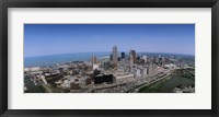 Framed Aerial view of buildings in a city, Cleveland, Cuyahoga County, Ohio, USA