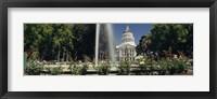 Framed Fountain in a garden in front of a state capitol building, Sacramento, California, USA