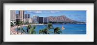 Framed Waikiki Beach, Honolulu, Hawaii, USA