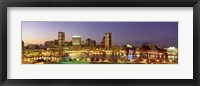 Framed USA, Maryland, Baltimore, City at night viewed from Federal Hill Park