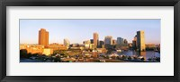 Framed USA, Maryland, Baltimore, High angle view from Federal Hill Parkof Inner Harbor area and skyline