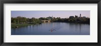 Framed Boat in a river, Charles River, Boston & Cambridge, Massachusetts, USA