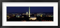 Framed Buildings Lit Up At Night, Washington Monument, Washington DC, District Of Columbia, USA