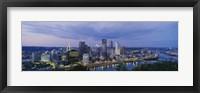 Framed Buildings lit up at night, Monongahela River, Pittsburgh, Pennsylvania, USA