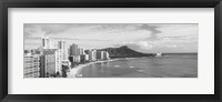 Framed Diamond Head, Waikiki, Oahu, Honolulu, Hawaii (black & white)