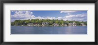 Framed Boathouses near the river, Schuylkill River, Philadelphia, Pennsylvania, USA