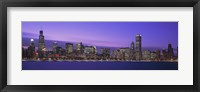 Framed Chicago Skyline with Purple Sky