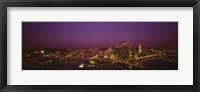 Framed High angle view of buildings lit up at night, Three Rivers Stadium, Pittsburgh, Pennsylvania, USA