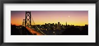 Framed San Francisco Bay Bridge with Moon in Sky