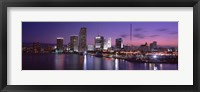 Framed Night Skyline Miami FL USA