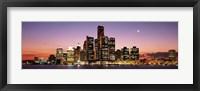 Framed Night Skyline Detroit MI