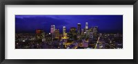 Framed Skyscrapers lit up at night, City Of Los Angeles, California, USA