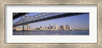 Framed Low angle view of bridges across a river, Crescent City Connection Bridge, Mississippi River, New Orleans, Louisiana, USA
