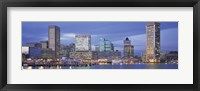 Framed Panoramic View Of An Urban Skyline At Twilight, Baltimore, Maryland, USA