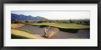 Framed Side profile of a man playing golf at a golf course, Tucson, Arizona, USA
