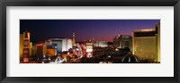 Framed Buildings Lit Up At Night, Las Vegas, Nevada, USA (purple sky)