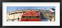 Framed Red score board outside Wrigley Field,USA, Illinois, Chicago