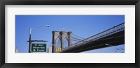 Framed Low angle view of a bridge, Brooklyn Bridge, Manhattan, New York City, New York State, USA