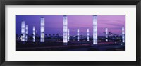 Framed Light sculptures lit up at night, LAX Airport, Los Angeles, California, USA