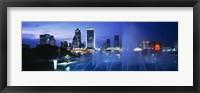Framed Fountain, Cityscape, Night, Jacksonville, Florida, USA
