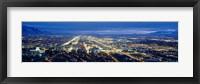 Framed Aerial view of a city lit up at dusk, Salt Lake City, Utah, USA