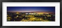 Framed High angle view of buildings lit up at dusk, Las Vegas, Nevada, USA