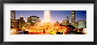 Framed Fountain lit up at dusk, Buckingham Fountain, Chicago, Illinois, USA