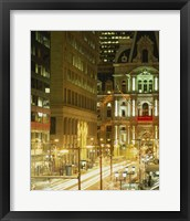 Framed Building lit up at night, City Hall, Philadelphia, Pennsylvania, USA