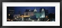Framed Temple lit up at night, Mormon Temple, Salt Lake City, Utah, USA
