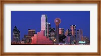 Framed USA, Texas, Dallas, Panoramic view of an urban skyline at night