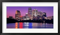 Framed USA, Texas, Austin, View of an urban skyline at night
