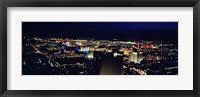 Framed High angle view of a city lit up at night, The Strip, Las Vegas, Nevada, USA