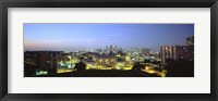 Framed High Angle View Of A City Lit Up At Dusk, Kansas City, Missouri