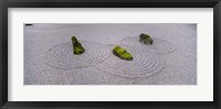 Framed High angle view of moss on three stones in a Zen garden, Washington Park, Portland, Oregon, USA