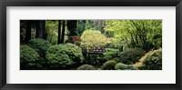 Framed Panoramic view of a garden, Japanese Garden, Washington Park, Portland, Oregon