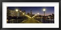 Framed Buildings lit up at night, Transamerica Pyramid, San Francisco, California, USA